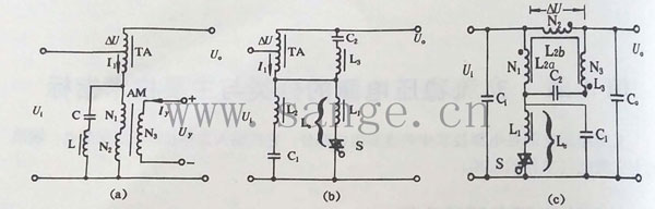 """已流行的""""磁放大器调整型电子交流稳压器""""(俗称614型稳压器)的主电路."""