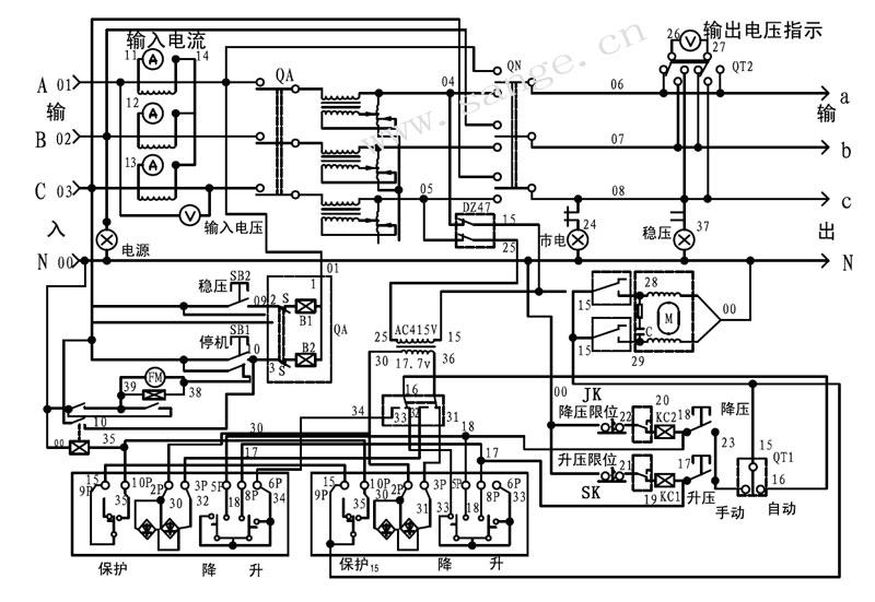 sbw全自动三相大功率电力稳压器原理图